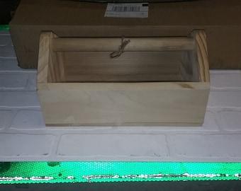 Small wooden tool box 12x7x6