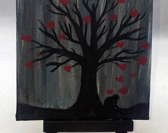 Love Reigns Down - Small Art Painting with Desktop Easel, 4 x 4 inch