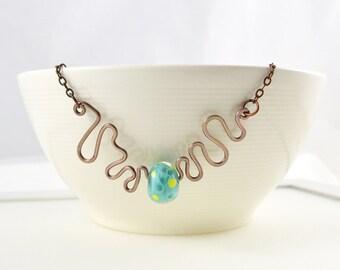 Jewellery SALE - Artisan Jewellery, Lampwork Necklace, Glass Necklace, Sky Blue Necklace, Unique Handmade Necklace, Australian Jewellery