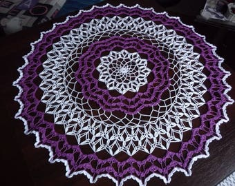 Large crochet doily handmade cotton white and purple.