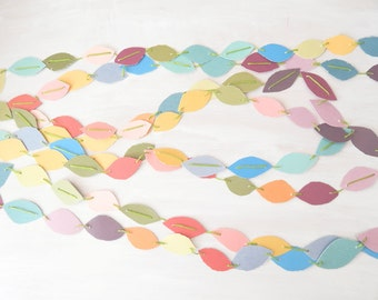 Paper Garland Rainbow Colors - torn oval rough edges