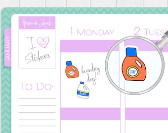 Laundry Detergent and Bleach Planner Stickers, Planner Stickers, Laundry Stickers, Chore Stickers, Kawaii Stickers, Cleaning Stickers