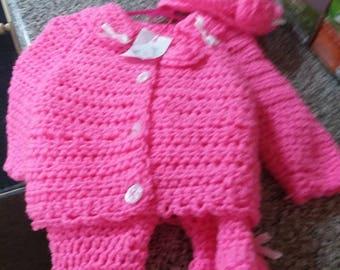 Pink sweater set,  camo dress with princess headband,  green and orange sweater