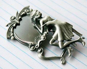 Flapper Girl Pewter Mirror Brooch
