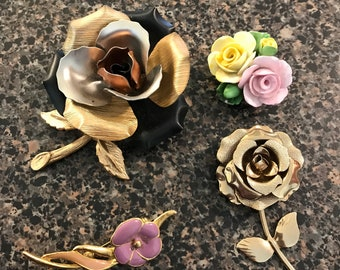 4 Assorted Vintage Rose Brooches