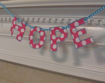 Name Banner in Hot Pink and White Polka Dots Fabric Banner for Room Decoration or Baby's Room