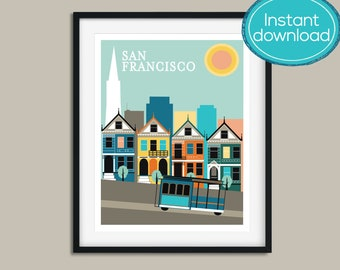 Printable Art, San Francisco Poster, San Francisco Print, San Francisco Art, Instant Download, Travel Print, Travel Poster, San Francisco