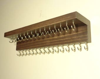 Jewelry Organizer - Jewelry Organization - Necklace Holder - 31 Hooks - Top Shelf - Many More Colors - Ready To Hang