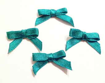 x 4 small bows Appliques embellishments satin Green 30 mm x 15 mm