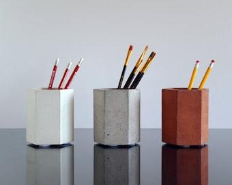 Concrete Pencil Holder, Pen pot, Paintbrushes holder, Toothbrush holder, Pen holder, Makeup Brush Holder, Concrete Cup, Modern Pencil holder