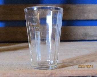Vintage Advertising Luerers Drug Store Medicine Measuring Glass Cup Shot Glass Teaspoons Tablespoons