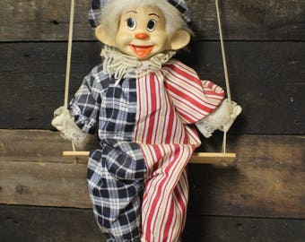 Marionette on a Swing, Vintage Clown Doll on a Swing