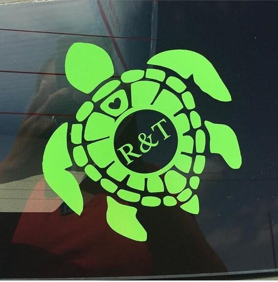 Download Items similar to Turtle Monogram Decal, Monogrammed Turtle ...