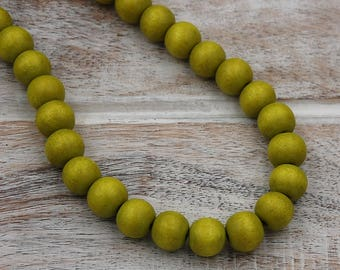 FREE SHIPPING, Sunny Yellow-Green Wood Round 10mm Boho Beads