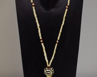 Necklace Batik Bone African Spear Pendant Ostrich Shell Beads D
