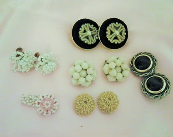 Lot Vintage Earrings - 5 Pairs and Beaded Ring - Clip on - Screw Back - Stud
