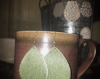 Green Hair Leather Earrings