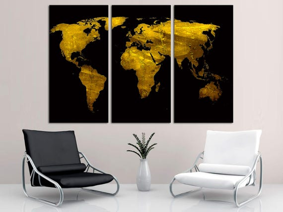 Black gold world map canvas print wall art triptych 3 like this item sciox Gallery