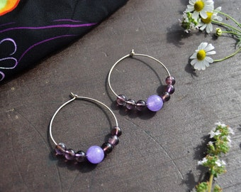 Amethyst earrings Birthsone jewelry Silver hoop earrings Bridesmaid gift Big earrings Gemstone beads Statement earrings Bridesmaid proposal