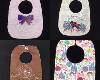 ITH Baby Bib Pattern Pack. Very easy In the hoop bib patterns for babies. By Pixie Willow Patterns