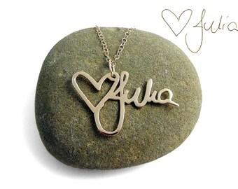 14k Gold Handwriting Necklace | Custom Handwriting Gold Necklace | Gold Memorial Signature Necklace
