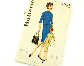 Vintage 1960s Womens Size 12 Jackie O Style Two Piece Dress Butterick Sewing Pattern 9922 Complete / bust 32 waist 25