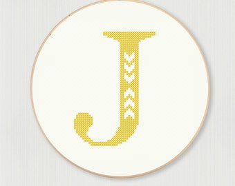 Cross stitch letter J pattern with chevron detail, instant digital download