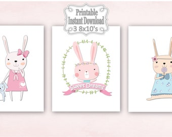 Printable Pink Bunnies Rabbits Sweet Dreams Baby Nursery Wall Art Decor Girl Kids Shower Gift ~ DIY Instant Download ~ 3 8x10 Prints