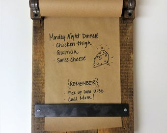 Reclaimed Wood Memo Board With Paper Included   Rustic Message Pad For  Notes And Lists   Perfect Organizer For Kitchen And Entryway
