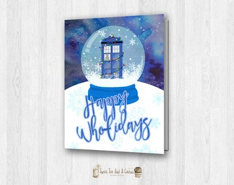 Doctor Who Christmas Card Printable Holiday Tardis Seasonal Greeting Card Instant Download Digital File Sci-fi Geek Nerd