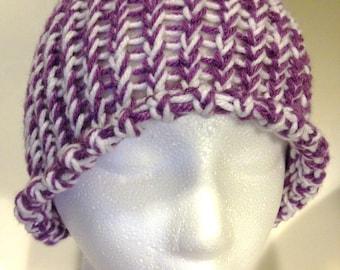 Purple and White Crochet Winter Hat Toboggan Handmade