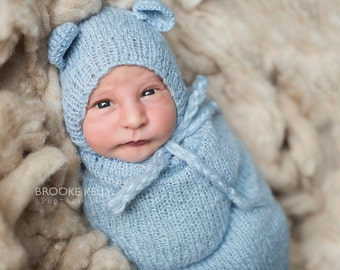 SET Baby Blue Mohair Teddy Bear Hat and Swaddle Sack Newborn Photography Prop