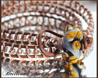 Leather Wrap Bracelet with Matching Handmade Floral Lampwork Bead Closure SRAJD