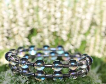 Rock crystal bracelet, bracelet, strap, memory wire bracelet, memory wire wristband, quartz bracelet, hematite bracelet, Hematite bracelet