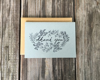 Wedding Thank You Card Set, Rustic Wedding Thank You Cards, Vintage Inspired Flower Thank You Cards For Wedding