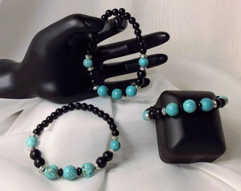 Black Onyx and Turquoise Stretch Bracelet