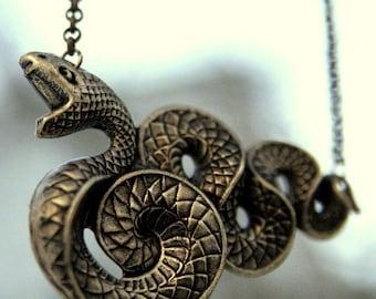 Snake Necklace - Brass