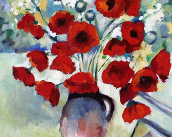 Flower Painting Red Poppies Print of Original Oil Painting