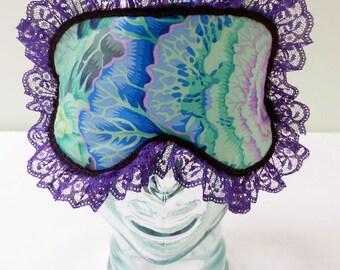 Satin Lined Sleep Mask - Retro Shabby Chic Eyemask Cabbage Rose Mint Aqua Purple Green Blue with Purple Lace Trim - Bath and Beauty