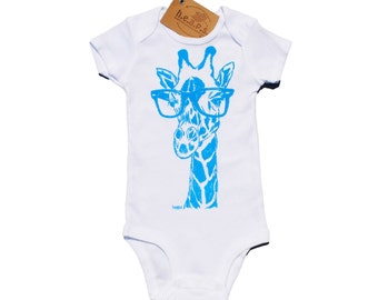Baby One Piece Sky Blue - Giraffe with Hipster Glasses - Infant Boy Outfits - Funny Baby One Piece - Baby Boy Clothing - New Mother Gifts