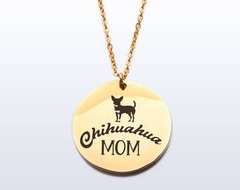 Chihuahua mom - gold plated stainless steel pendant necklace and chain - for dog lovers