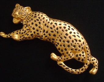 Vintage NI 95© Matte Gold w/Black Enamel Spots & Rhinestone Eyes Wild Leopard Cheetah Jaguar UNISEX Belt Buckle HUGE 152.9g Fantastic Piece!