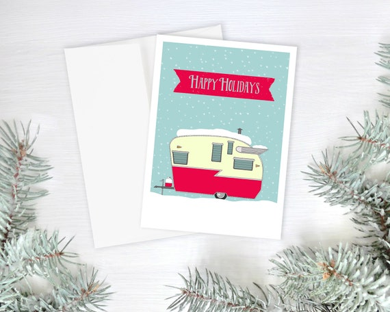 "christmas cards, greeting cards, greeting card set, christmas greeting cards, holiday greeting cards, retro camper, snow  - ""Happy Holidays"""