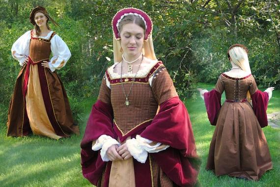 Renaissance Court Tudor Kleid Kostüm in schwarz Gold mit 4