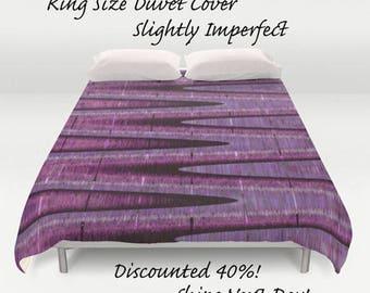 SALE! Pink & Purple Duvet Cover-Microfiber Duvet Cover-King Size Duvet Cover-Bedding-Pink-Lavender-Black-ZigZag Pattern