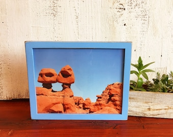 8x10 Picture Frame in Peewee Style with Vintage Blue Finish - IN STOCK - Same Day Shipping - 8x10 Photo Frame Solid Hardwood
