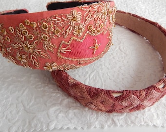 Pink mauve beaded embroidered headbands, curly hair accessory, headbands for women