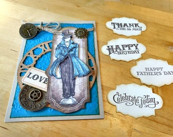 Father's Day Card / Masculine Steampunk Card / Steampunk Birthday Card /  Victorian / Interchangeable Sentiments