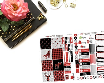 Mad for Buffalo Plaid mini HP Kit// MINI HP Weekly Kit// 2 sheets of planner stickers