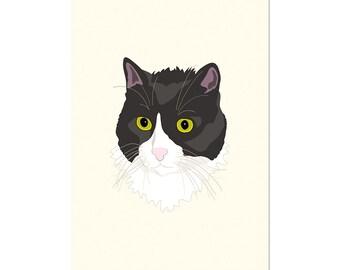 Casual Cat, 5x7 art print Animal Art, illustration, home decor, Nursery, wall art, postcard